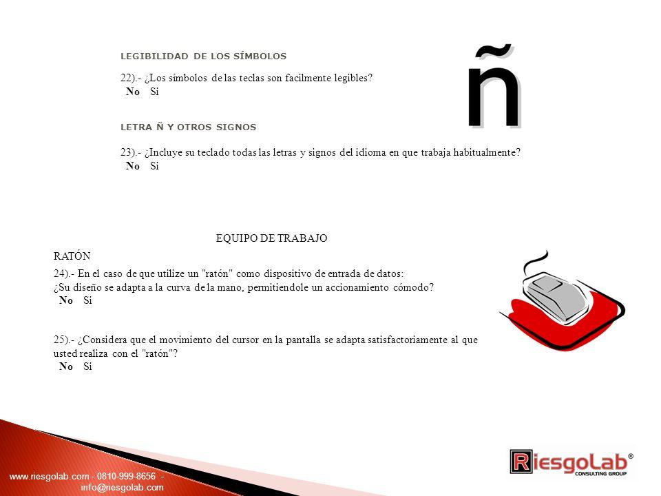 22).- ¿Los símbolos de las teclas son facilmente legibles No Si