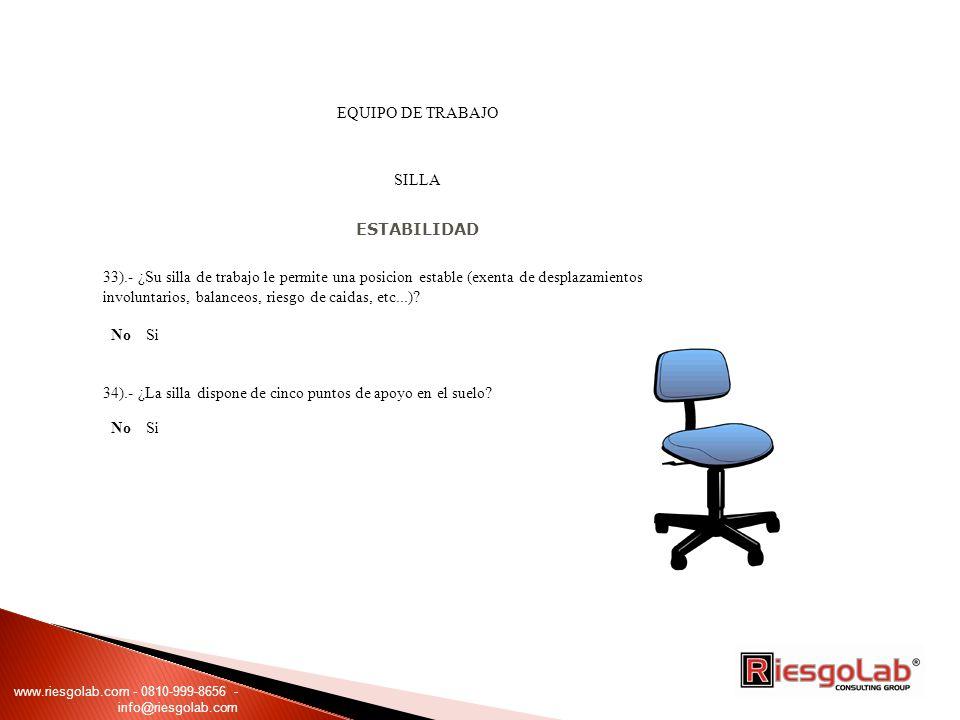 34).- ¿La silla dispone de cinco puntos de apoyo en el suelo No Si