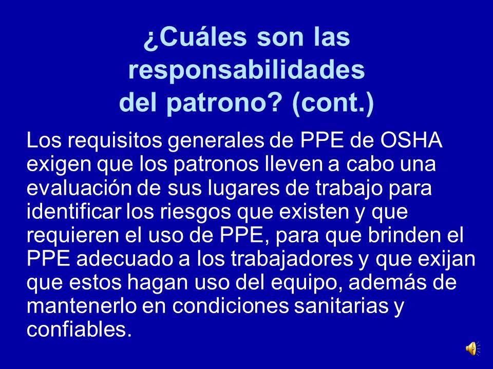 ¿Cuáles son las responsabilidades del patrono (cont.)