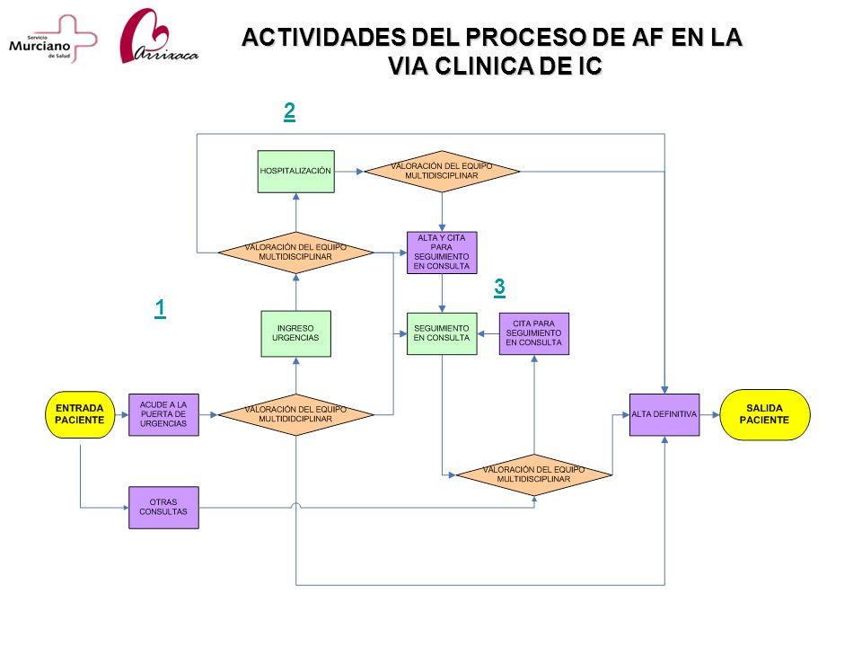 ACTIVIDADES DEL PROCESO DE AF EN LA VIA CLINICA DE IC