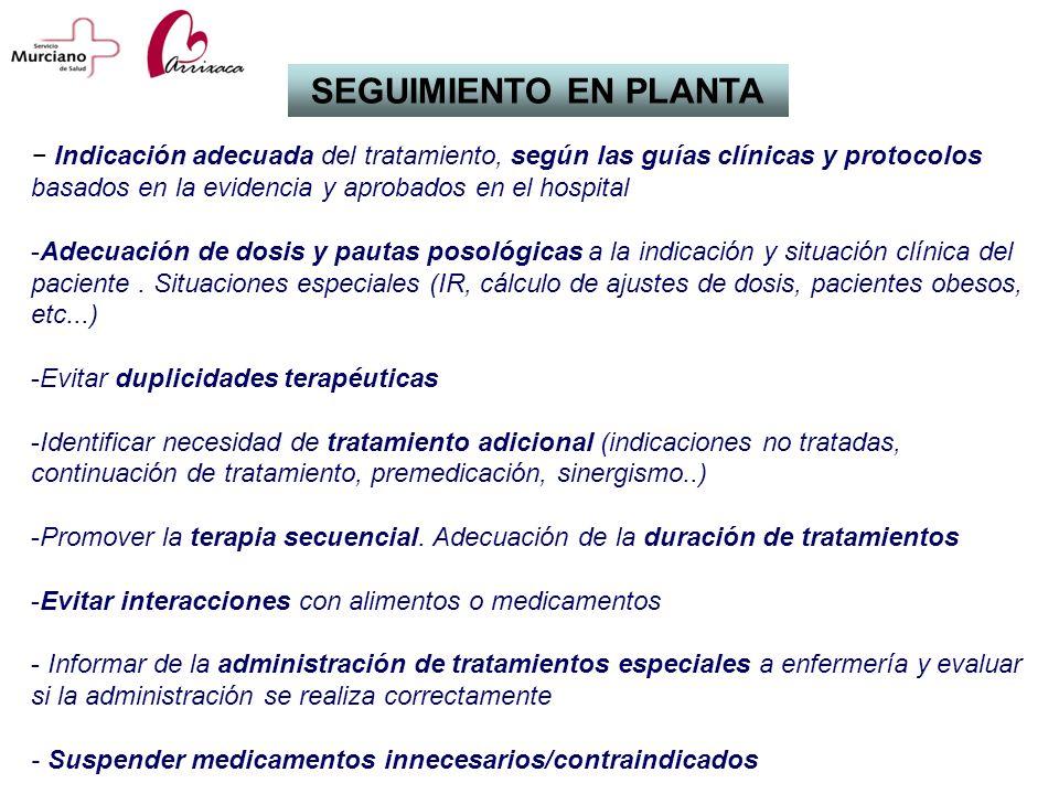SEGUIMIENTO EN PLANTA − Indicación adecuada del tratamiento, según las guías clínicas y protocolos basados en la evidencia y aprobados en el hospital.