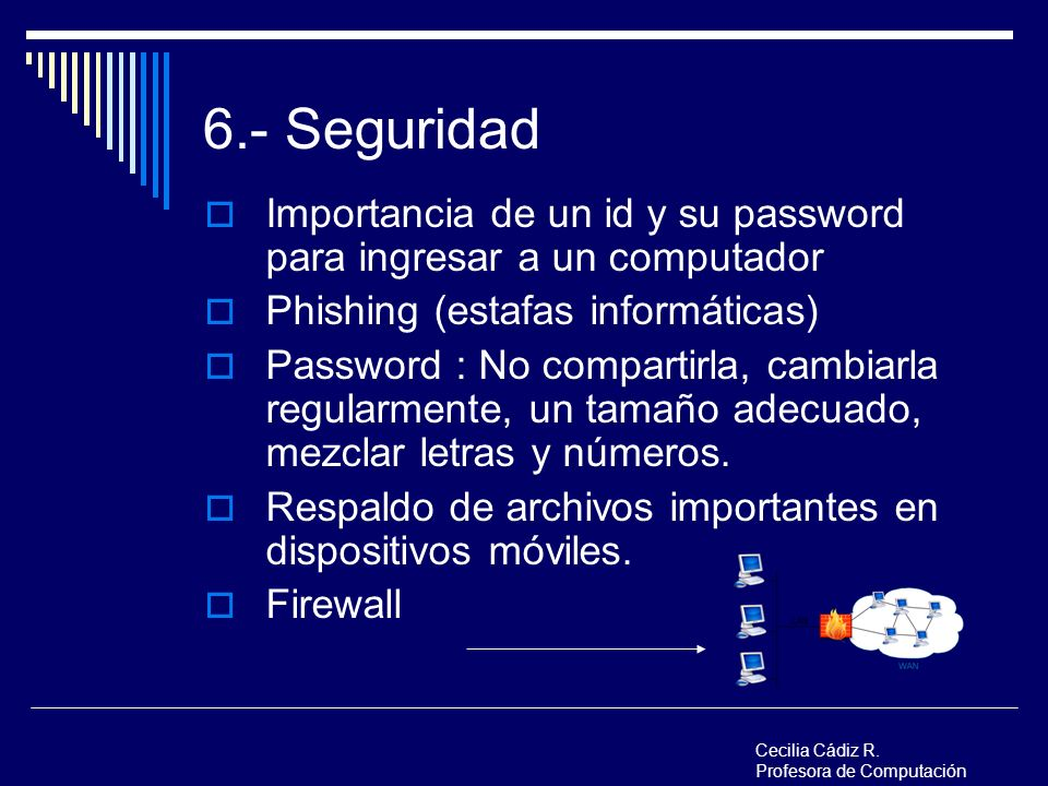 6.- Seguridad Importancia de un id y su password para ingresar a un computador. Phishing (estafas informáticas)
