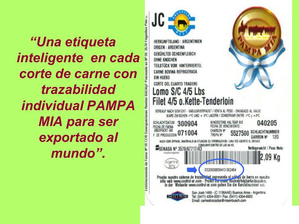 Una etiqueta inteligente en cada corte de carne con trazabilidad individual PAMPA MIA para ser exportado al mundo .