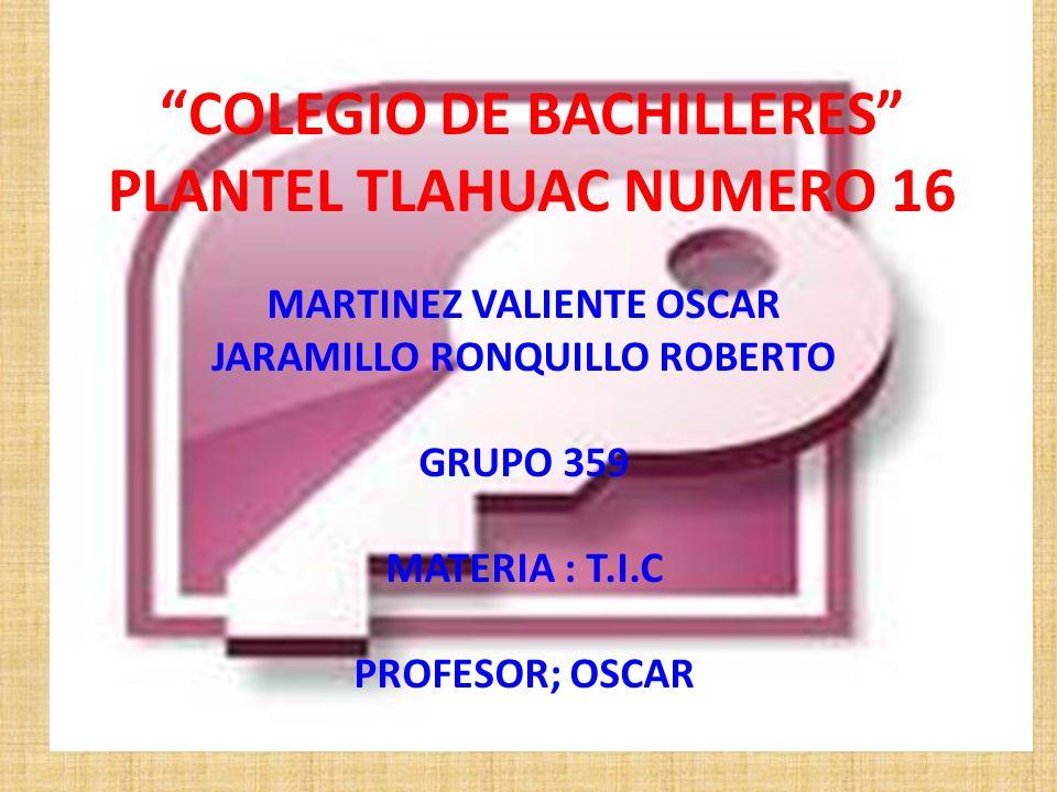 COLEGIO DE BACHILLERES PLANTEL TLAHUAC NUMERO 16