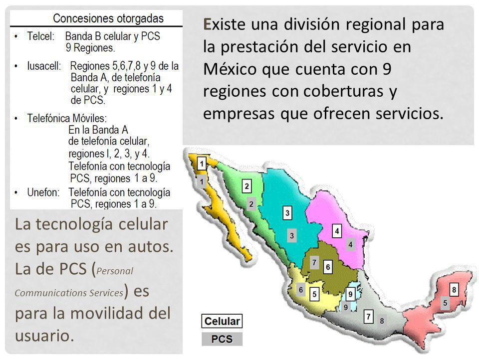 Existe una división regional para la prestación del servicio en México que cuenta con 9 regiones con coberturas y empresas que ofrecen servicios.