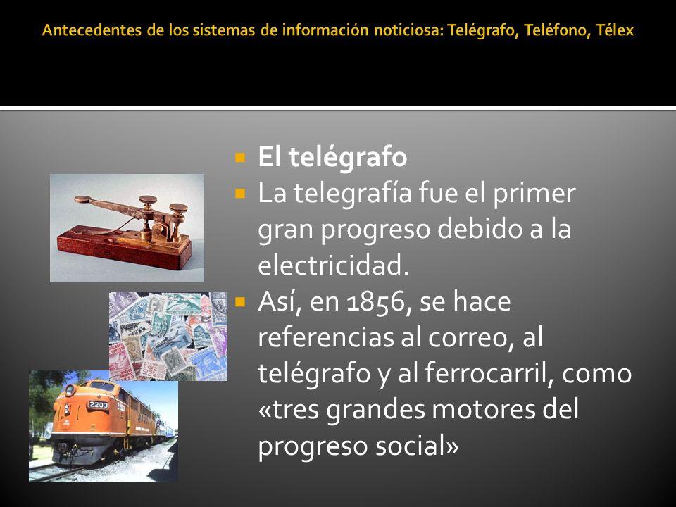La telegrafía fue el primer gran progreso debido a la electricidad.
