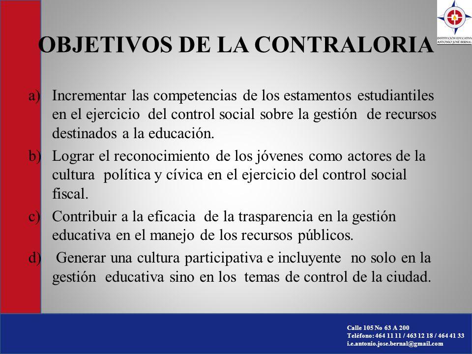 OBJETIVOS DE LA CONTRALORIA