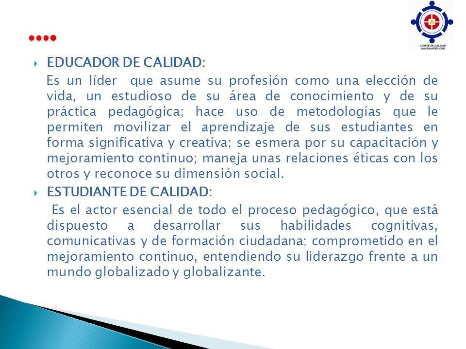 …. EDUCADOR DE CALIDAD:
