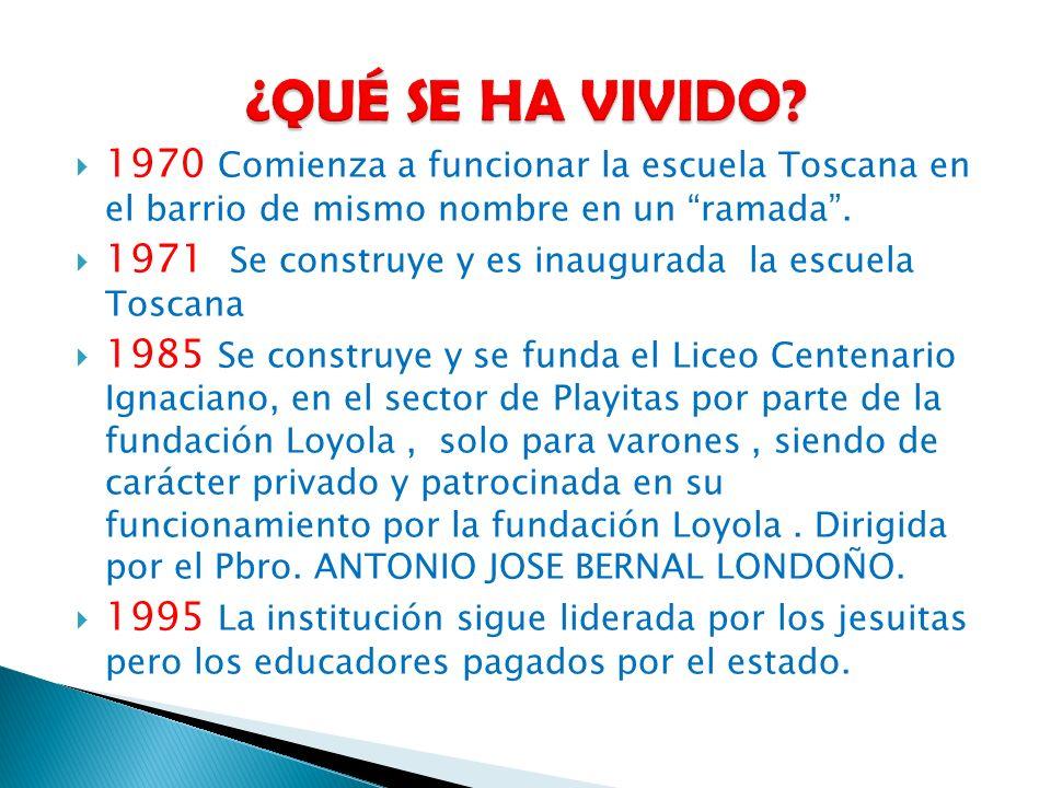 ¿QUÉ SE HA VIVIDO 1970 Comienza a funcionar la escuela Toscana en el barrio de mismo nombre en un ramada .