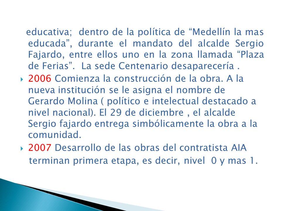 educativa; dentro de la política de Medellín la mas educada , durante el mandato del alcalde Sergio Fajardo, entre ellos uno en la zona llamada Plaza de Ferias . La sede Centenario desaparecería .