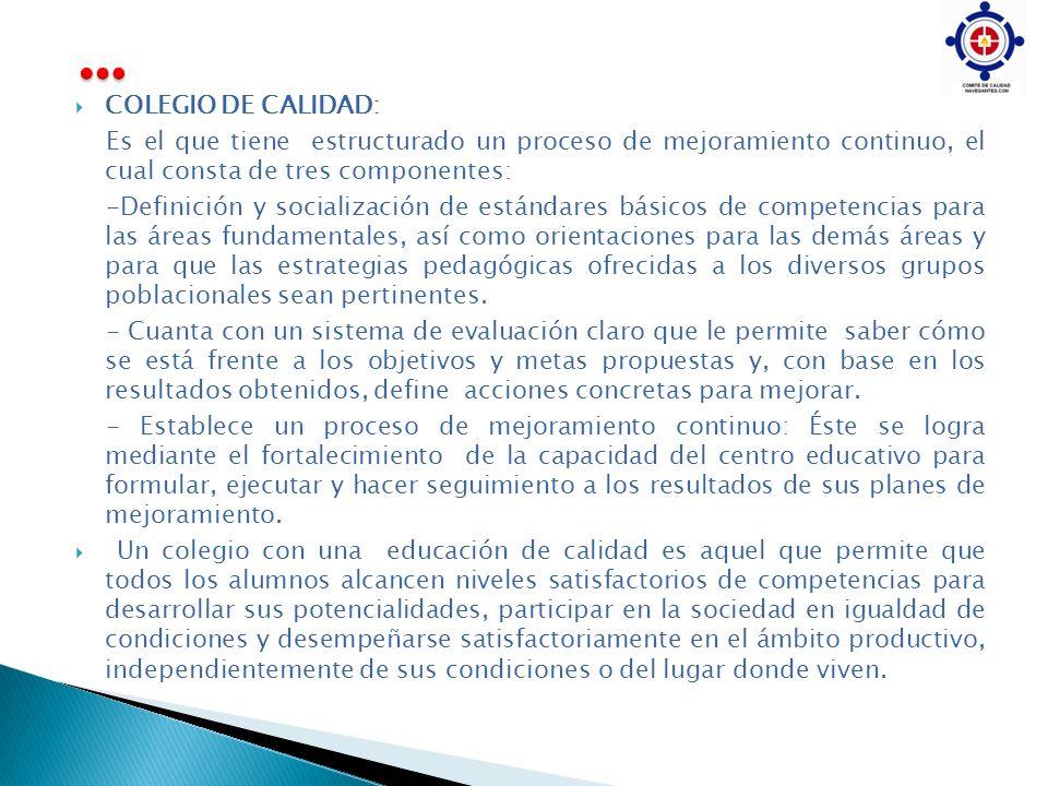 … COLEGIO DE CALIDAD: Es el que tiene estructurado un proceso de mejoramiento continuo, el cual consta de tres componentes: