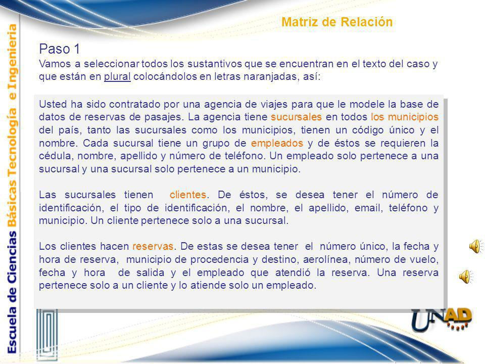 Paso 1 Matriz de Relación
