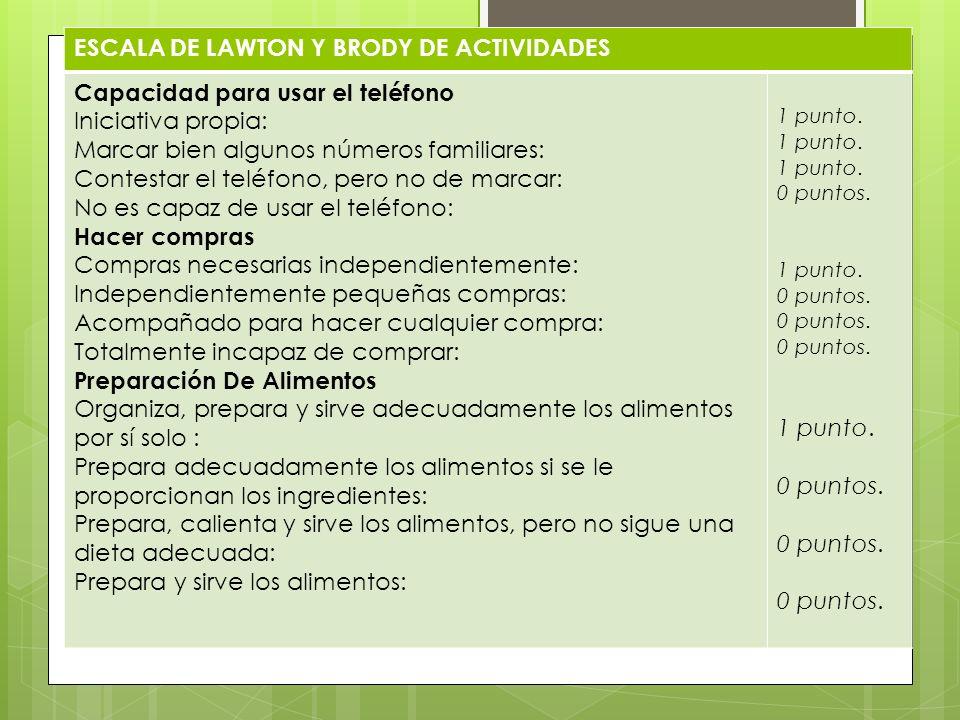ESCALA DE LAWTON Y BRODY DE ACTIVIDADES
