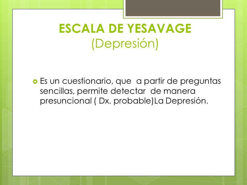 ESCALA DE YESAVAGE (Depresión)