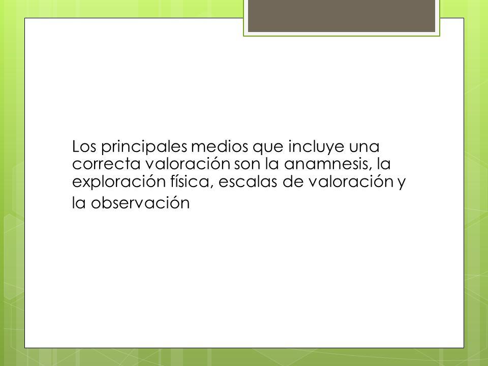 Los principales medios que incluye una correcta valoración son la anamnesis, la exploración física, escalas de valoración y