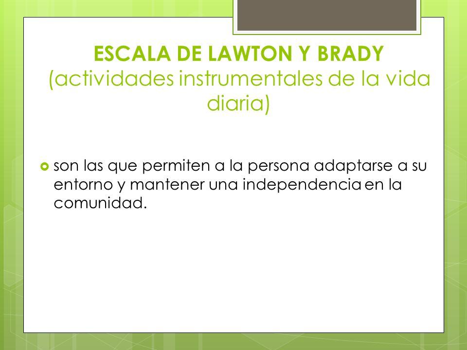 ESCALA DE LAWTON Y BRADY (actividades instrumentales de la vida diaria)