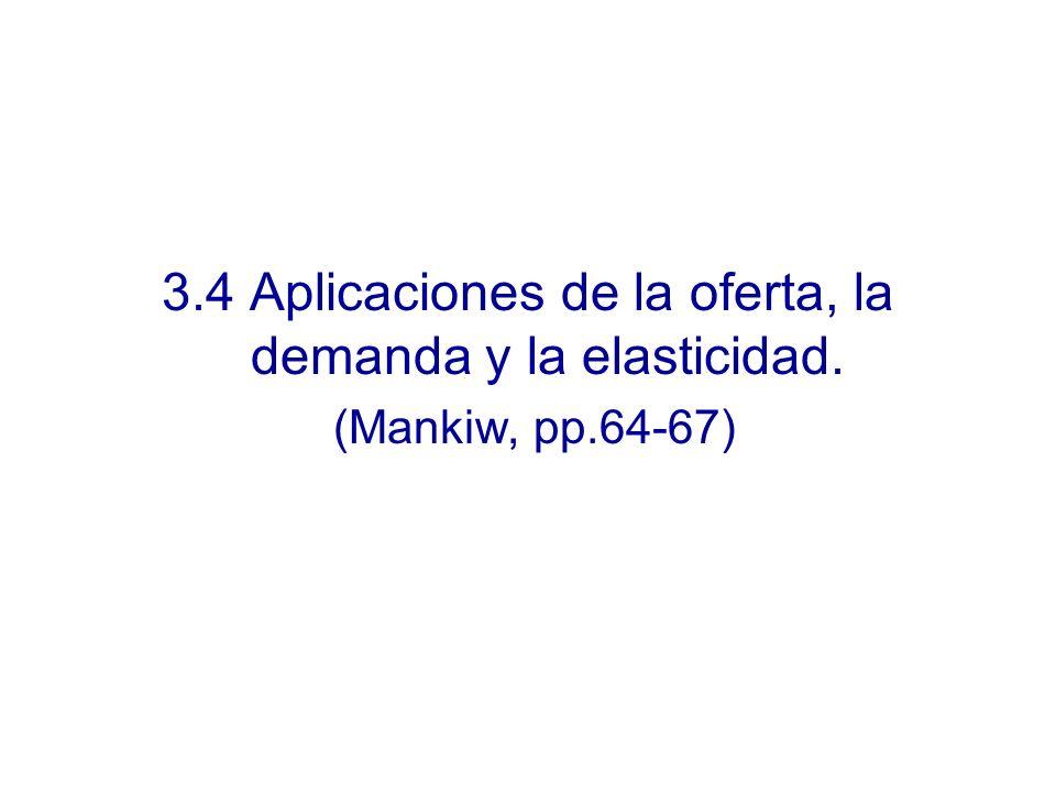3.4 Aplicaciones de la oferta, la demanda y la elasticidad.