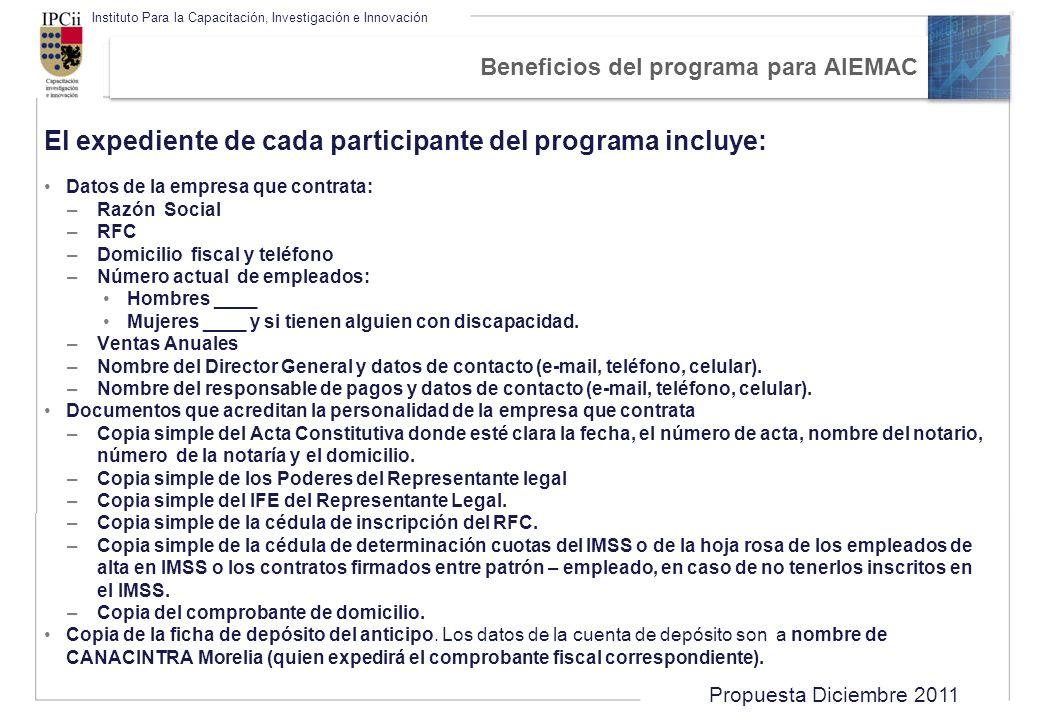 Beneficios del programa para AIEMAC