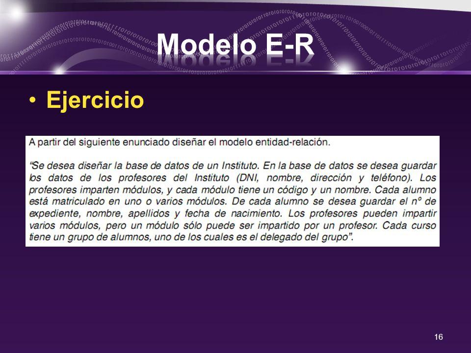 Modelo E-R Ejercicio