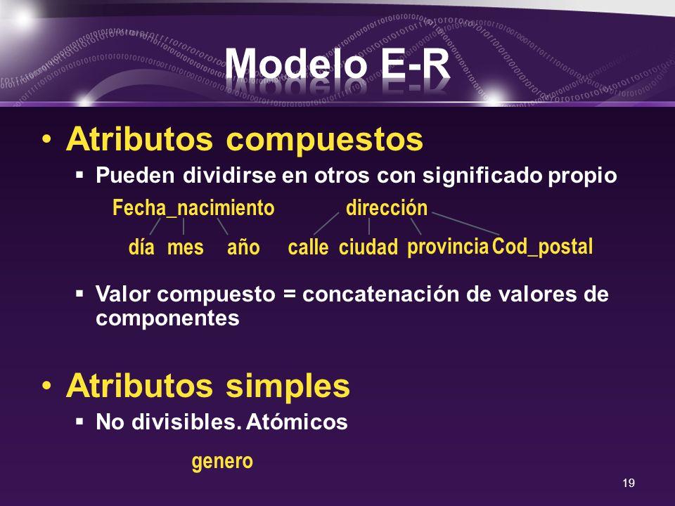 Modelo E-R Atributos compuestos Atributos simples