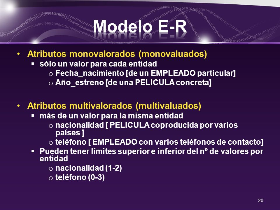 Modelo E-R Atributos monovalorados (monovaluados)