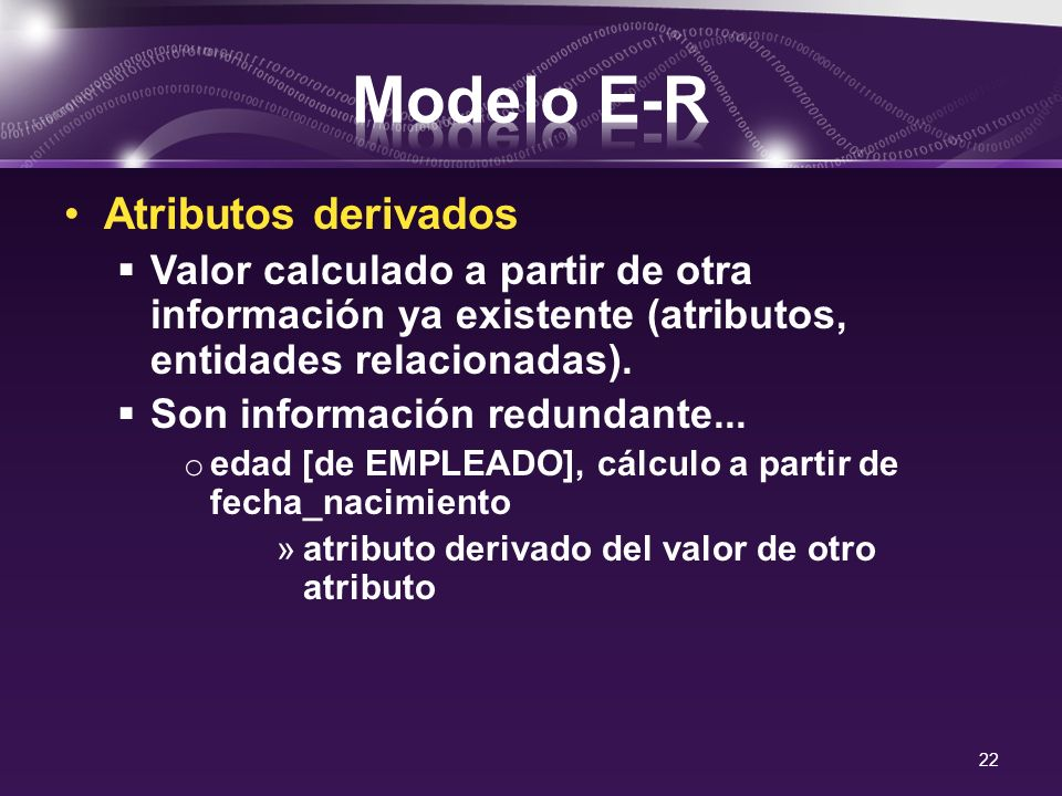 Modelo E-R Atributos derivados