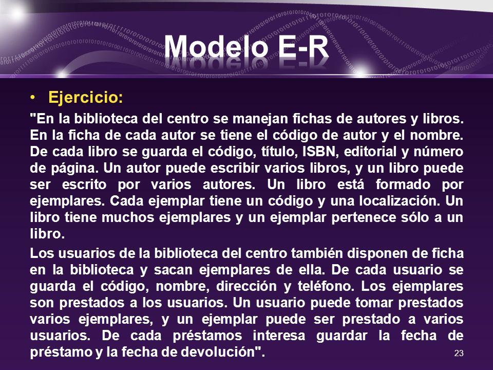 Modelo E-R Ejercicio: