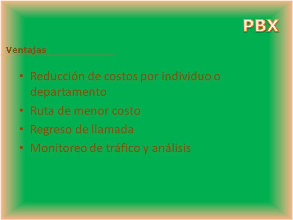 PBX Reducción de costos por individuo o departamento