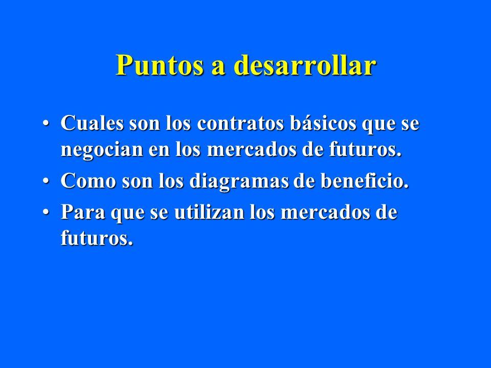 Puntos a desarrollar Cuales son los contratos básicos que se negocian en los mercados de futuros. Como son los diagramas de beneficio.