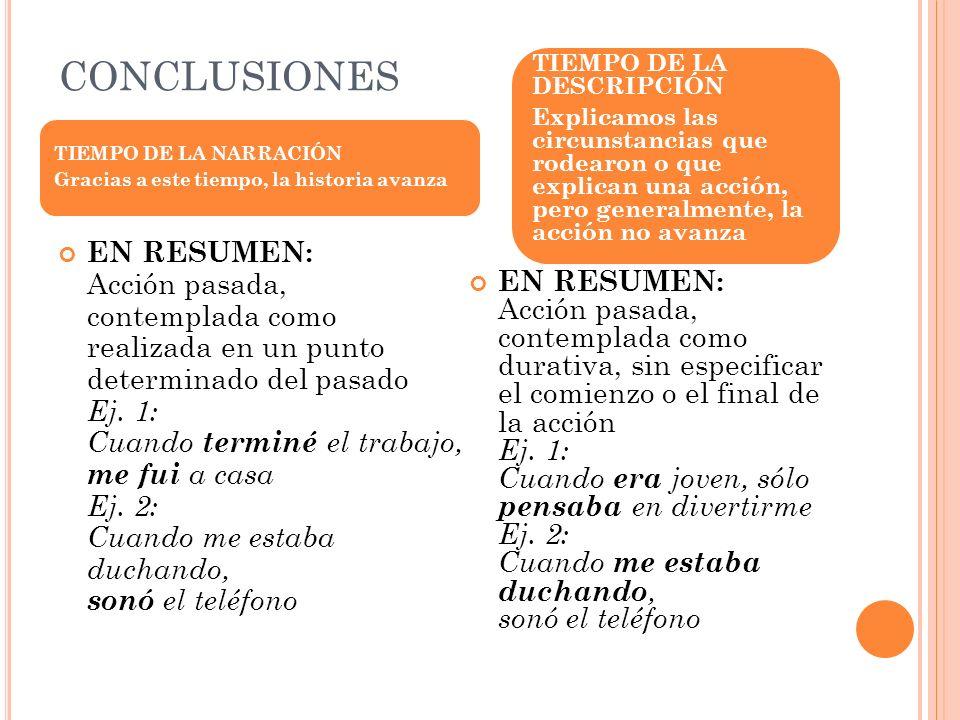 CONCLUSIONES TIEMPO DE LA DESCRIPCIÓN.