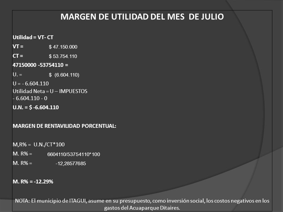 MARGEN DE UTILIDAD DEL MES DE JULIO