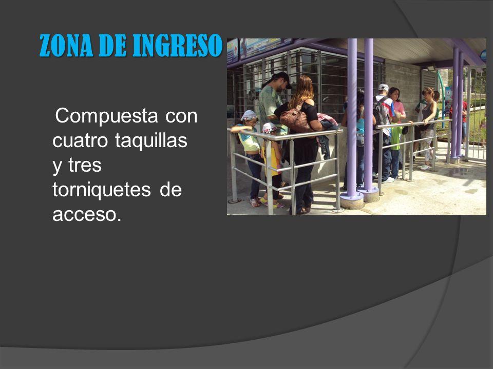 ZONA DE INGRESO Compuesta con cuatro taquillas y tres torniquetes de acceso.