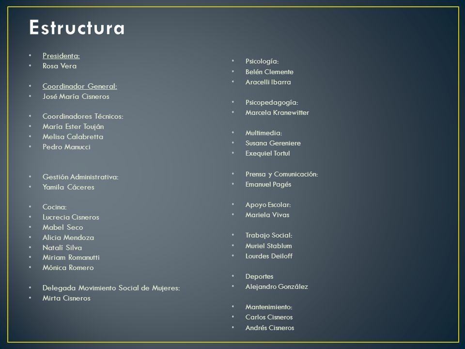 Estructura Presidenta: Rosa Vera Coordinador General: