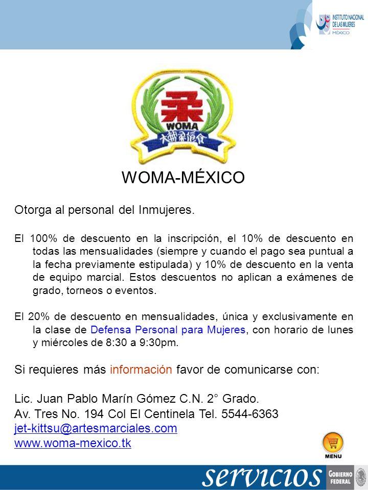 servicios WOMA-MÉXICO Otorga al personal del Inmujeres.