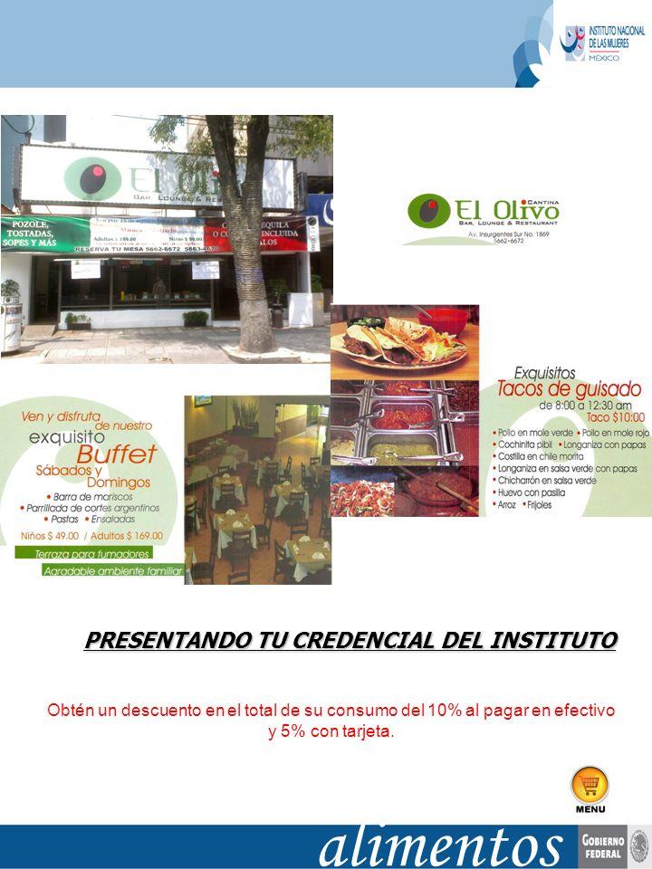 alimentos PRESENTANDO TU CREDENCIAL DEL INSTITUTO