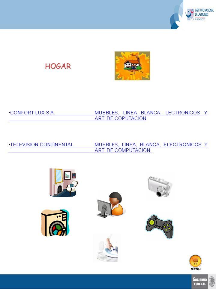 HOGAR CONFORT LUX S.A. MUEBLES, LINEA BLANCA, LECTRONICOS Y ART. DE COPUTACION.