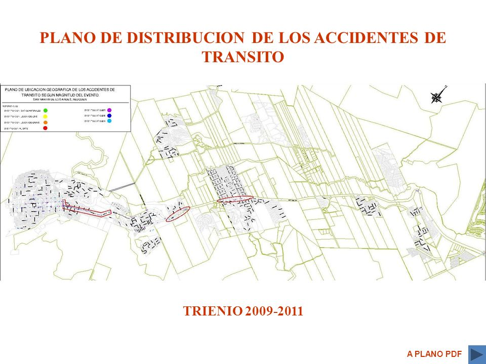 PLANO DE DISTRIBUCION DE LOS ACCIDENTES DE TRANSITO