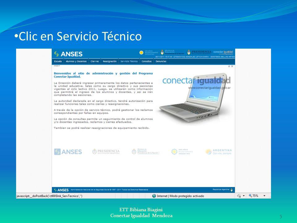Clic en Servicio Técnico