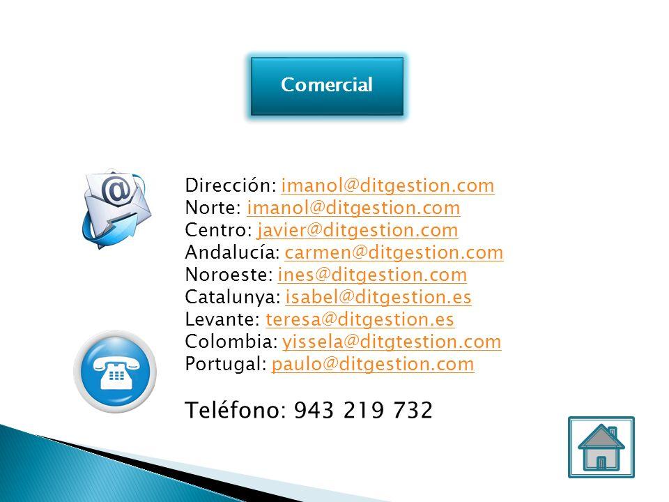 Teléfono: 943 219 732 Comercial Dirección: imanol@ditgestion.com