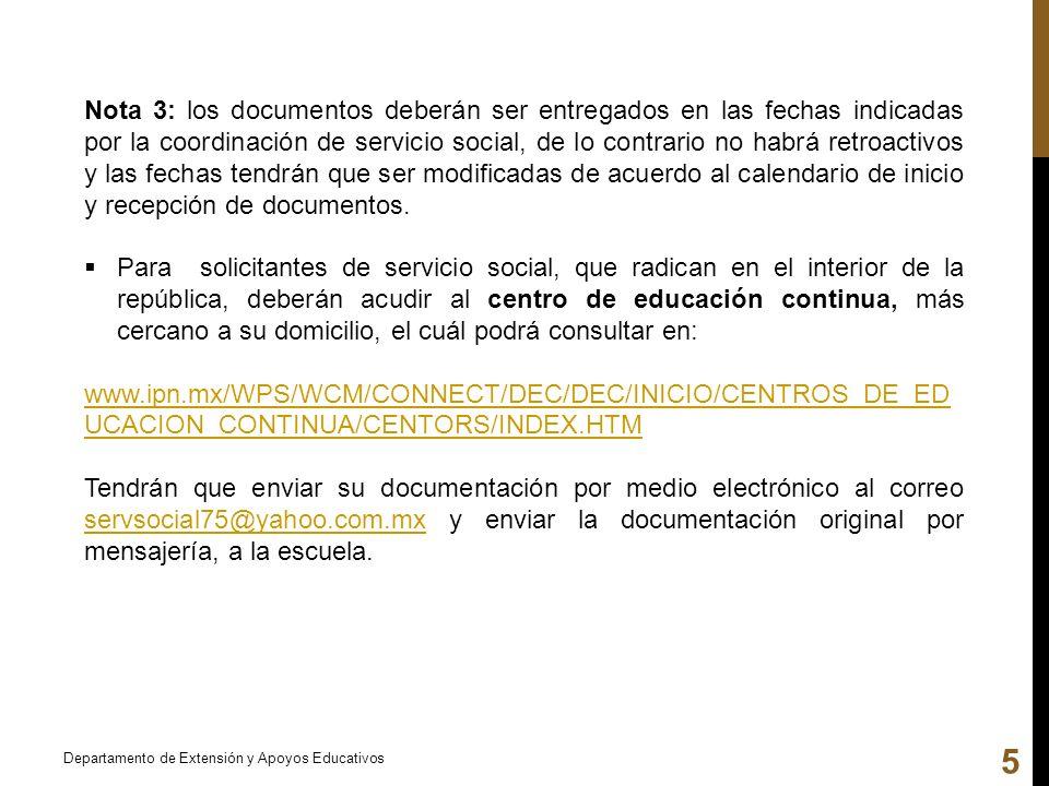 Nota 3: los documentos deberán ser entregados en las fechas indicadas por la coordinación de servicio social, de lo contrario no habrá retroactivos y las fechas tendrán que ser modificadas de acuerdo al calendario de inicio y recepción de documentos.