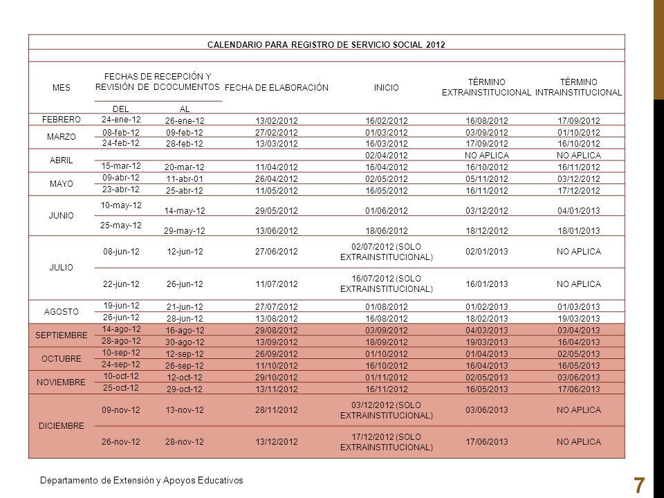 CALENDARIO PARA REGISTRO DE SERVICIO SOCIAL 2012