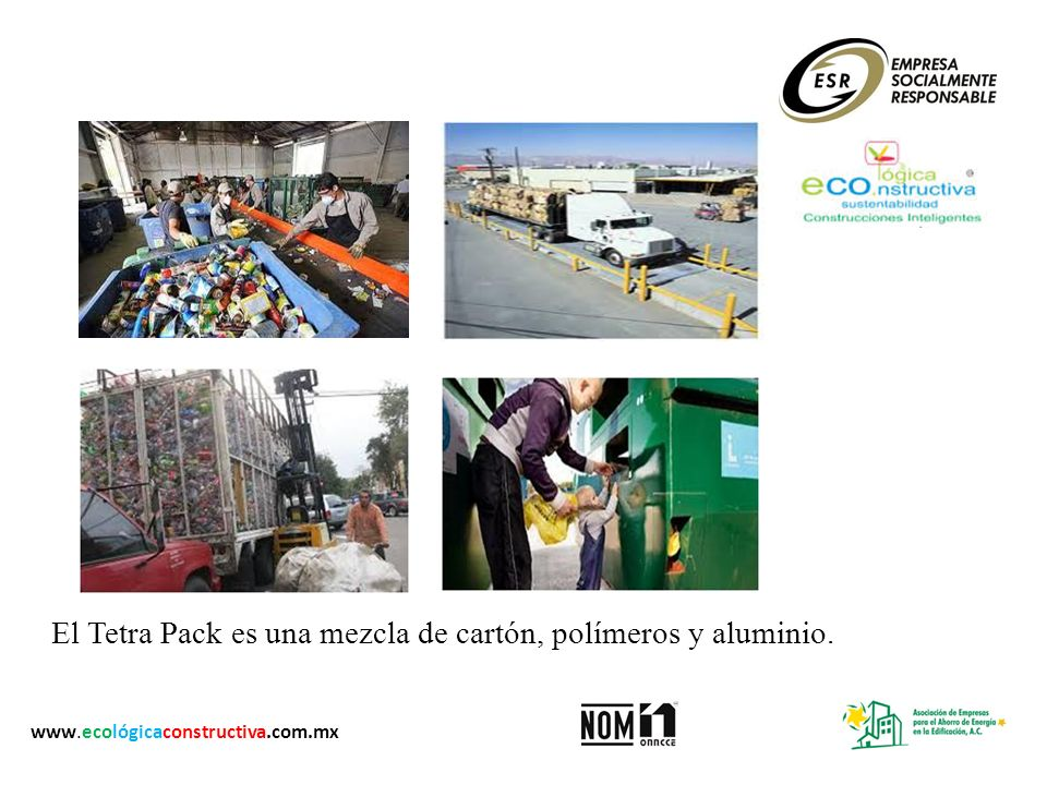 El Tetra Pack es una mezcla de cartón, polímeros y aluminio.