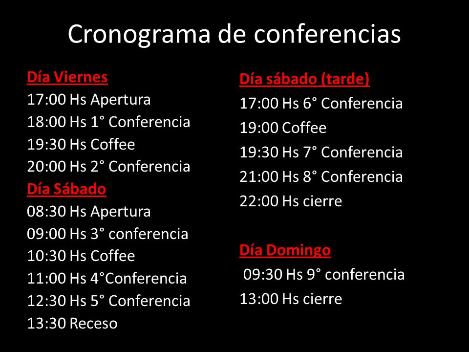Cronograma de conferencias