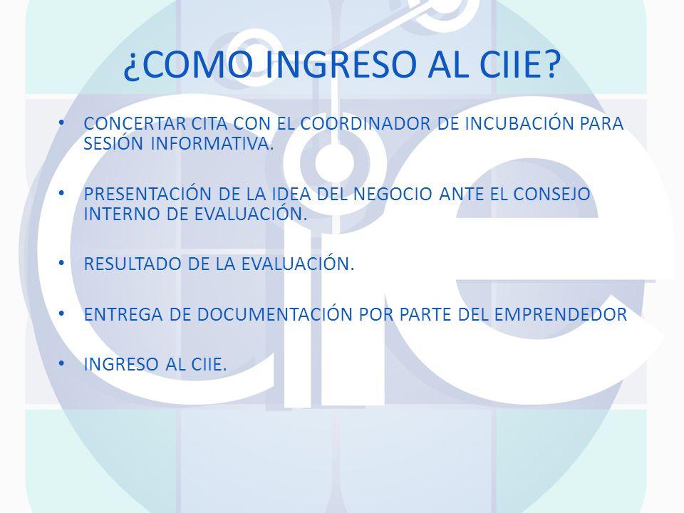 ¿COMO INGRESO AL CIIE CONCERTAR CITA CON EL COORDINADOR DE INCUBACIÓN PARA SESIÓN INFORMATIVA.