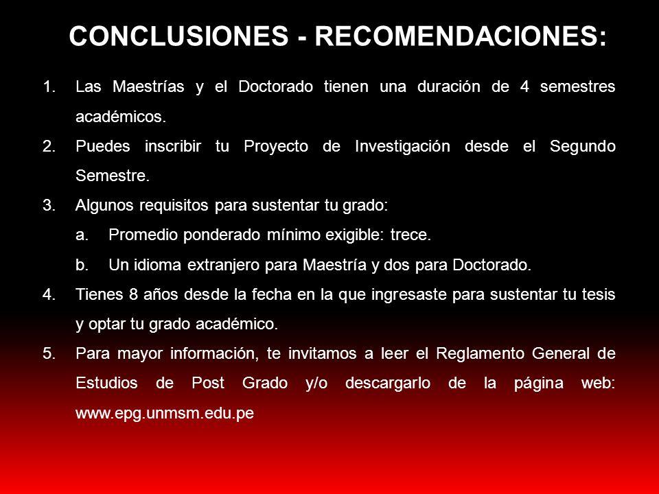 CONCLUSIONES - RECOMENDACIONES: