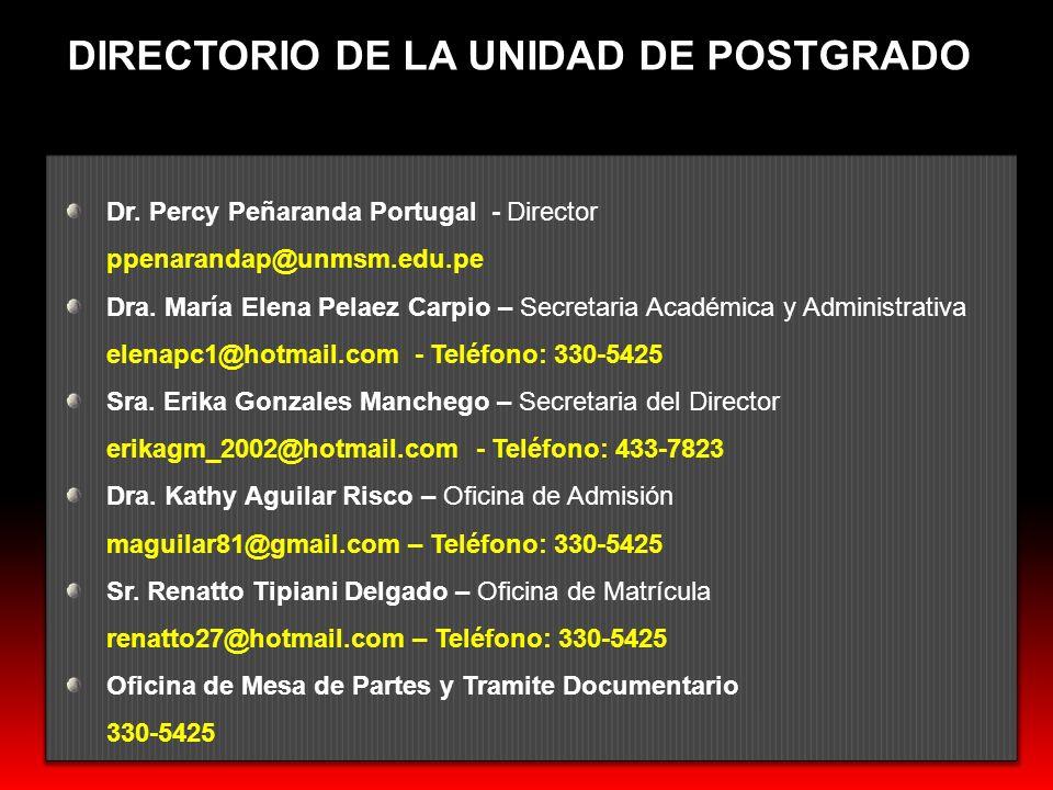 DIRECTORIO DE LA UNIDAD DE POSTGRADO