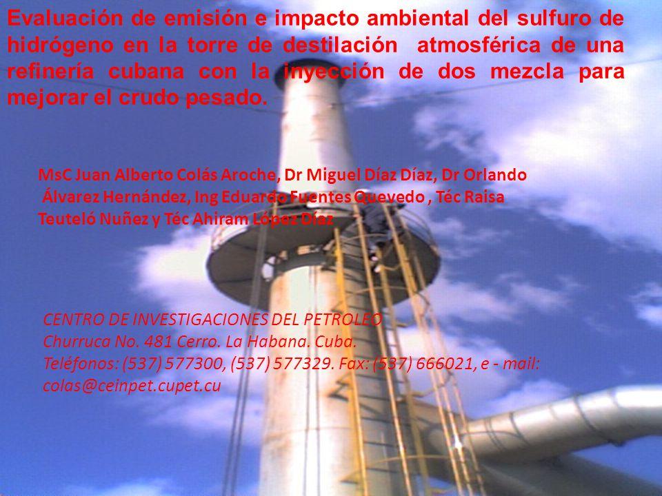 Evaluación de emisión e impacto ambiental del sulfuro de hidrógeno en la torre de destilación atmosférica de una refinería cubana con la inyección de dos mezcla para mejorar el crudo pesado.