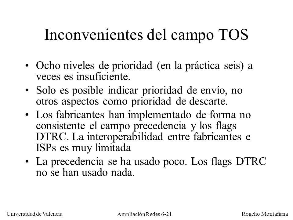 Inconvenientes del campo TOS