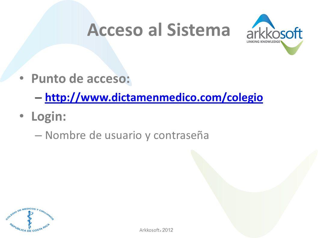 Acceso al Sistema Punto de acceso: Login: