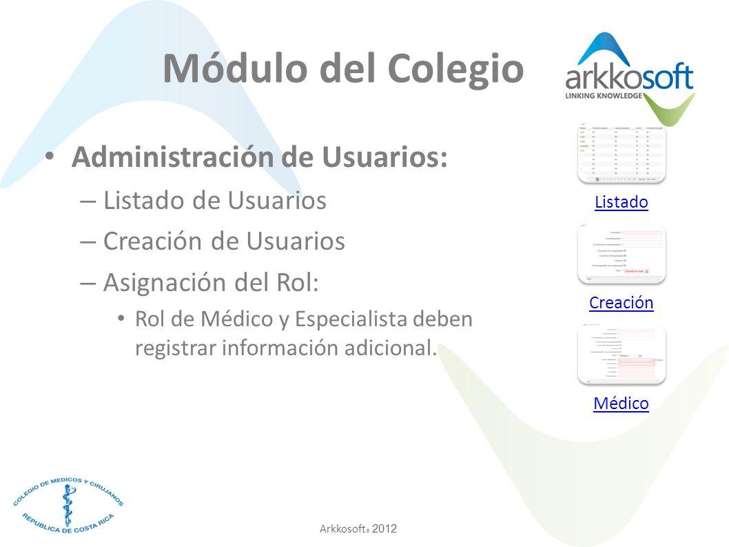 Módulo del Colegio Administración de Usuarios: Listado de Usuarios